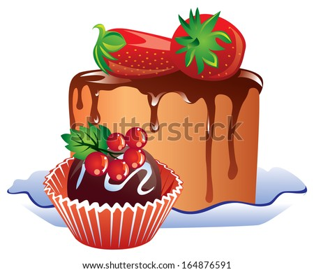 vector sweet cake drizzled with chocolate and two strawberries and candy with cranberries