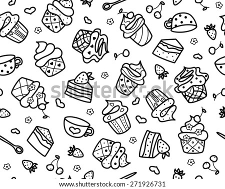 Vector sweet cupcakes pattern, black silhouette isolated. - stock vector