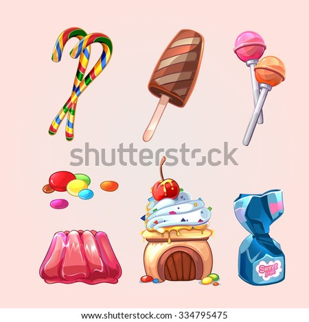 Vector sweets and cookies set in cartoon style. Lollipop and caramel, yummy tasty candy, cake and ice cream illustration - stock vector