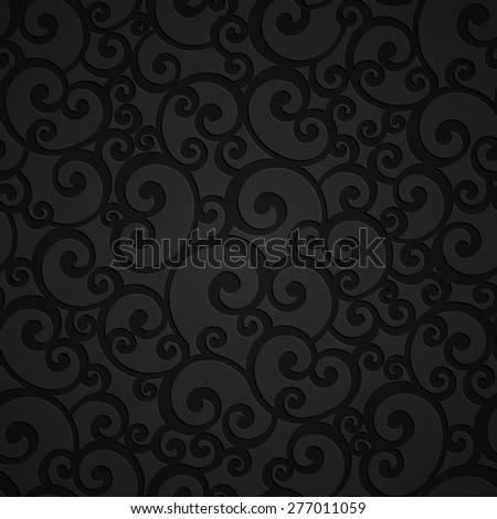 Vector Swirl Floral Damask Seamless Pattern Background. Decoration For Wallpaper - stock vector