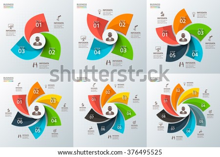 Vector swirl infographic. Template for cycle diagram, graph, presentation and round chart. Business concept with 3, 4, 5, 6, 7 and 8 options, parts, steps or processes. Data visualization. - stock vector