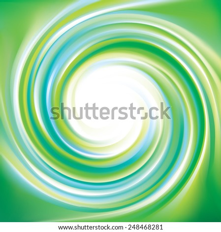 Vector swirling backdrop. Beautiful spiral liquid surface light green and blue colors with glowing white center in middle of funnel  - stock vector