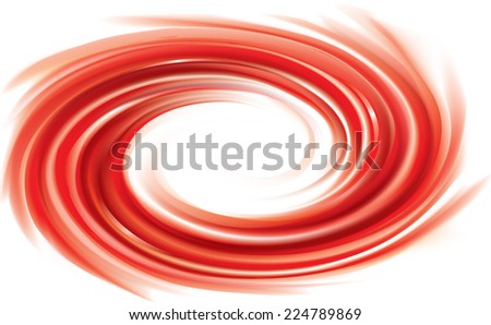 Vector swirling backdrop. Spiral fluid surface deep red color with space for text. Appetizing juice different bright fruits: strawberries, tomatoes, cranberries, raspberries, pomegranate, redcurrants