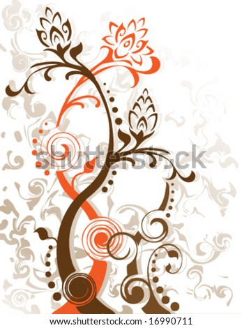 Vector Swirling flower foliage designs. Created in earth tones. - stock vector