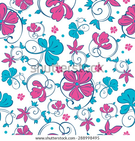 Vector Swirly Vibrant Flowers Seamless Pattern - stock vector