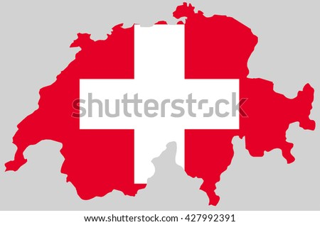 Vector Swiss confederation topographic map. Switzerland flag on borders of the country. Flat style design. Switzerland border contour isolated on gray. Original color flag. graphic design clip art