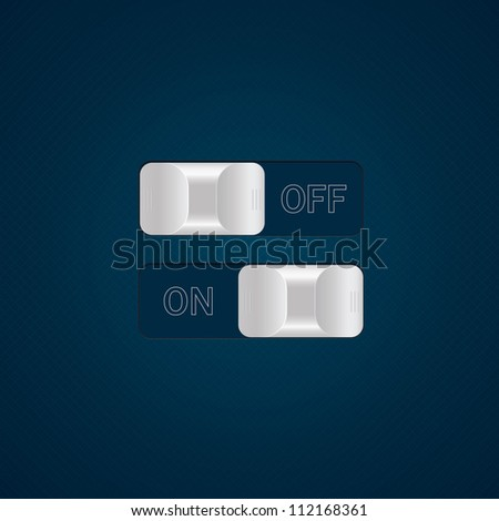 Vector switches and tumblers. ON and OFF positions. - stock vector