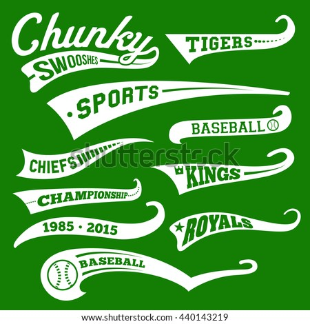 Vector Swooshes, Swishes, Whooshes, and Swashes for Typography on Retro or Vintage Baseball Tail Tee shirt - stock vector