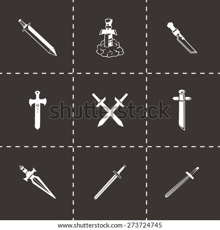 Vector Sword icon set on black background - stock vector