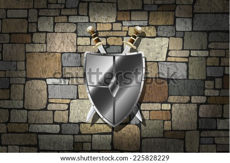 Vector Swords and Shield On Grunge Stone Wall - stock vector