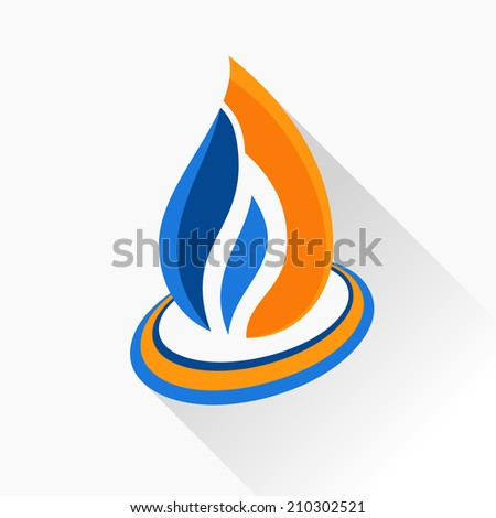 Vector symbol fire. Orange and dark blue flame glass icon with long shadow isolated - stock vector