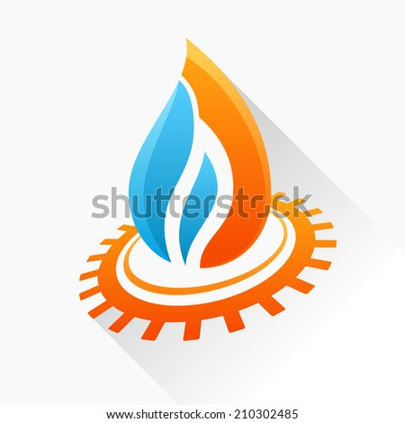 Vector symbol fire with gear. Orange and blue flame glass icon with long shadow isolated - stock vector