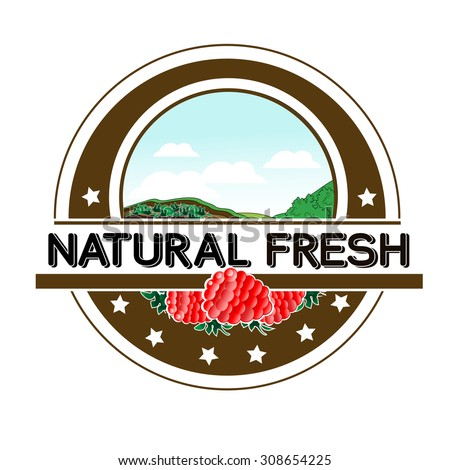 Vector symbol - natural fresh label - nature abstract element with raspberry, bio organic simple design in the circle  - stock vector