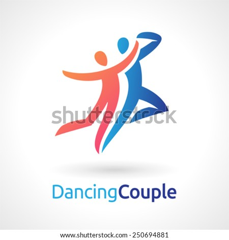 Vector symbol of a dancing couple. - stock vector