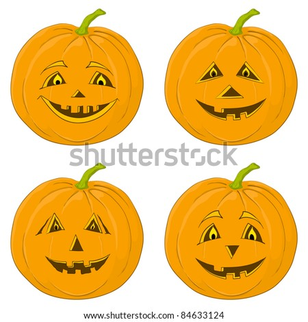 Vector, symbol of a holiday of Halloween: a pumpkin Jack O Lantern, isolated on white, set - stock vector