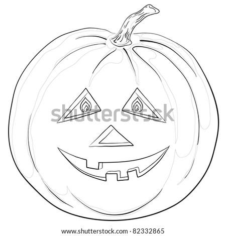 Vector, symbol of a holiday of Halloween: a pumpkin Jack O Lantern, monochrome contours - stock vector