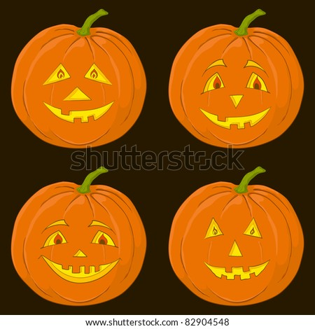 Vector, symbol of a holiday of Halloween: a pumpkin Jack O Lantern on black, set - stock vector