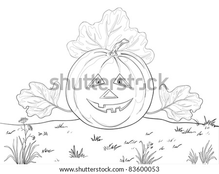 Vector, symbol of a holiday of Halloween: a pumpkin Jack O Lantern with hands - the leaves, contours - stock vector