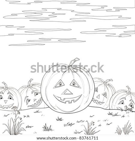 Vector, symbol of a holiday of Halloween: a pumpkins Jack O Lantern army, contours - stock vector