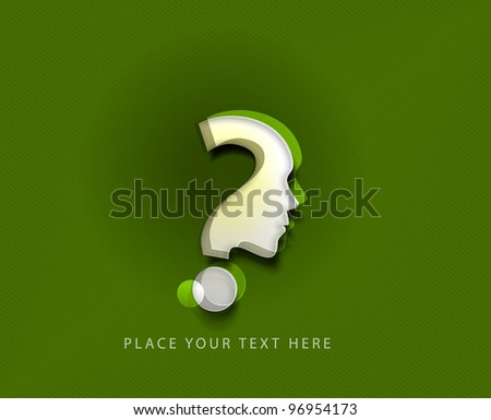 vector symbol of question mark in green background. - stock vector