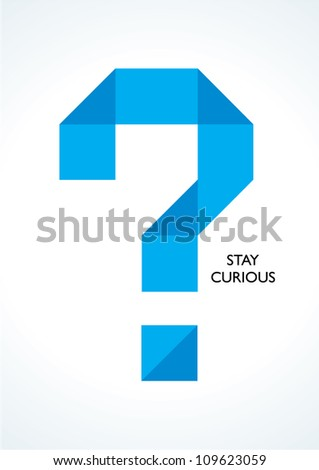 vector symbol of question mark made of paper - stock vector