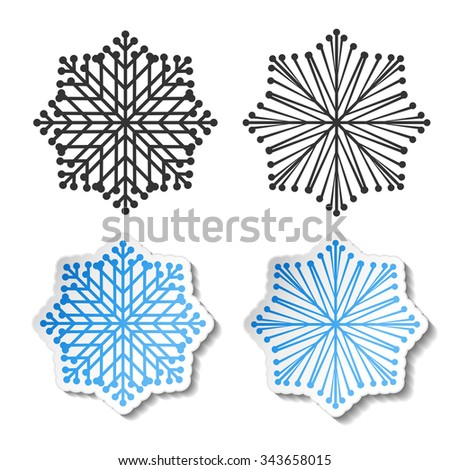Vector symbol of snowflake. Winter sale label, blue white sticker - Christmas snow icon - stock vector