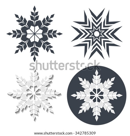 Vector symbol of snowflake. Winter sale label, sticker - Christmas snow icon - stock vector