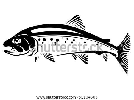 vector symbol of trout fish - stock vector
