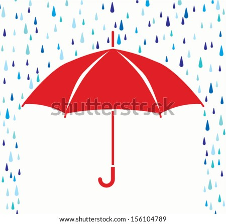 vector symbol of umbrella protection from rain drops  - stock vector