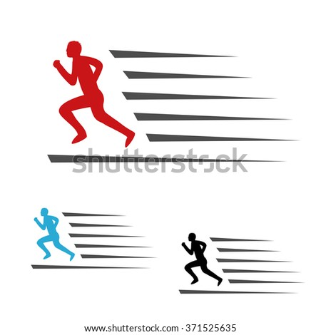Vector symbol rate of delivery package or speed icon of download and upload, symbol of running man, runner - stock vector
