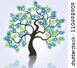 vector symbolic tree with colorful loving hands - stock photo