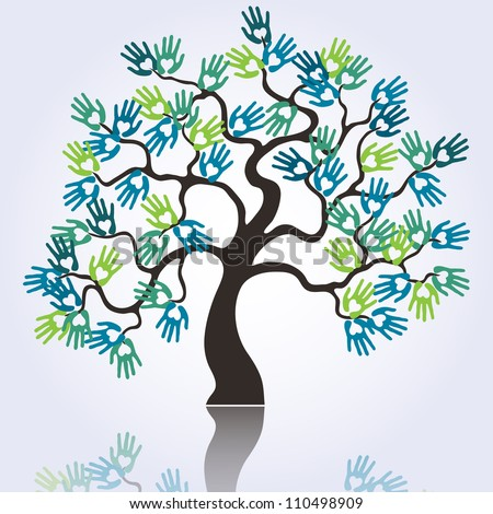 vector symbolic tree with colorful loving hands - stock vector