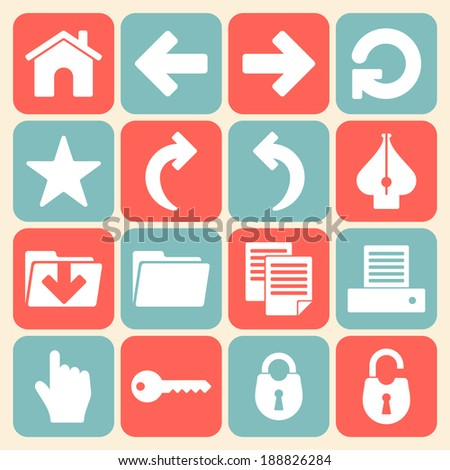 Vector Symbols Office Web Page Document Stock Vector 188826284