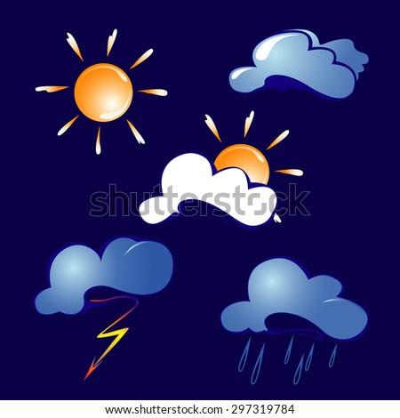 Vector Symbols Weather Forecast Stock Vector 297319784 Shutterstock
