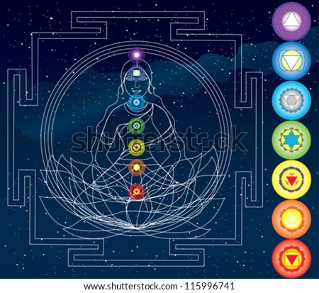 Vector symbols of 7 chakras - stock vector