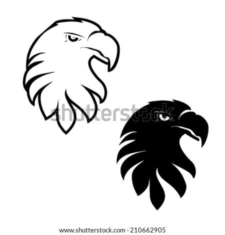 Vector symbols of eagle, black sketch head - stock vector