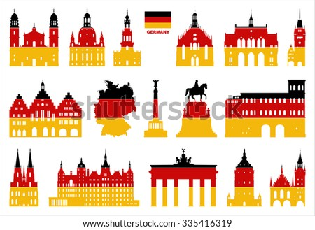 Vector symbols of Germany. Map of Germany. - stock vector