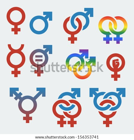 Vector symbols of sexual orientation and gender - stock vector