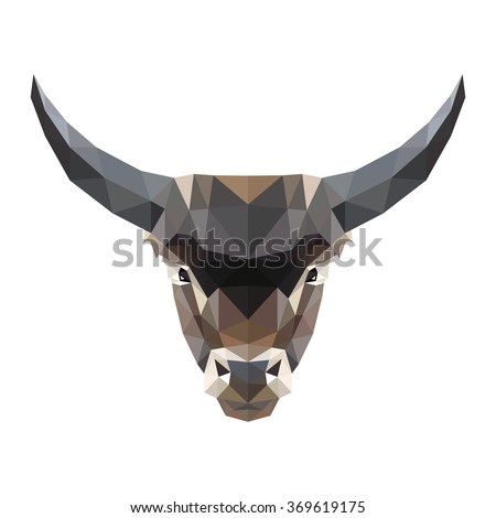 Vector symmetrical illustration of a bull on a white background. Made in low poly triangular style. - stock vector