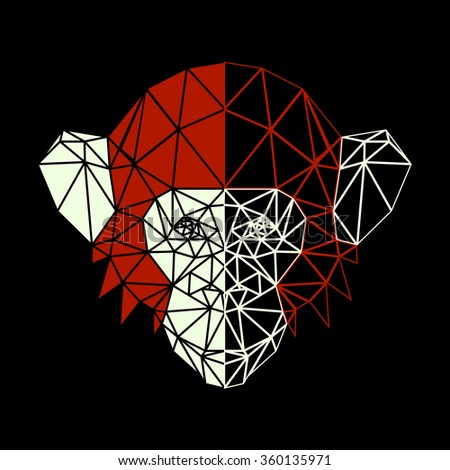 Vector symmetrical illustration of a chimpanzee monkey. Red and white on a black background. Made in low poly triangular style. - stock vector