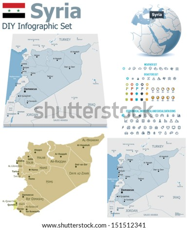 Vector Syria political and administrative divisions maps, Syria flag, Earth globe showing country location, map markers and related icon set - stock vector