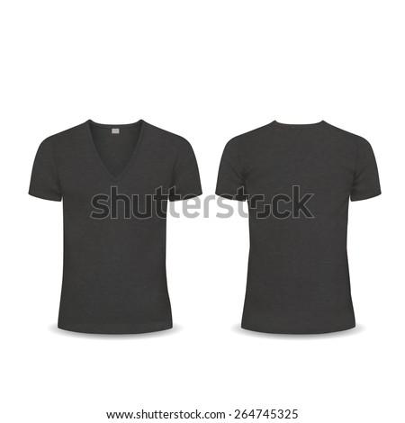 Vector T-shirt, Design template, women and men, u-neck shirt, v-neck shirt, short sleeved, back and front views, raglan sleeve - stock vector