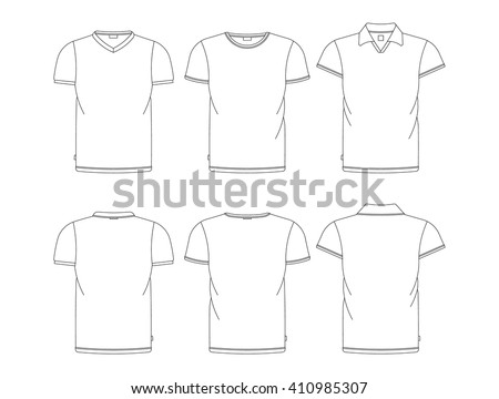 Vector Tshirt Template Front Back View Stock Vector (2018) 410985307 ...