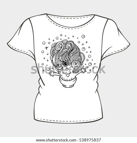 Vector Tshirt Template Funny Monster Print Stock Vector