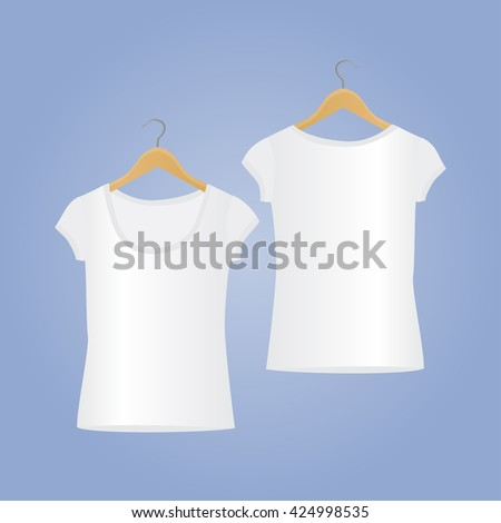 Vector T-shirt templates. T-shirt mockup. Woman clean white T-shirts, isolated on background.