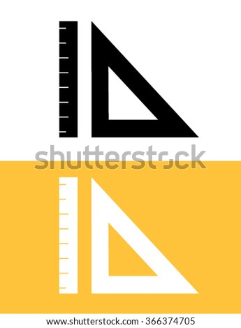 Vector T-Square and Ruler Set in Black and Reverse - stock vector