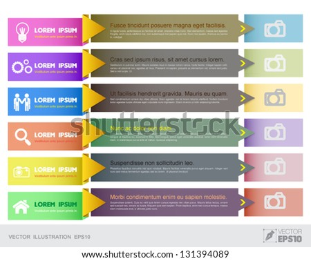 Vector tab for business concepts with  icons / can use for info-graphic / loop business report or plan / modern template / education template / business brochure /  system diagram - stock vector