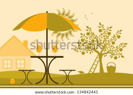 vector table and chairs with umbrella in garden - stock vector