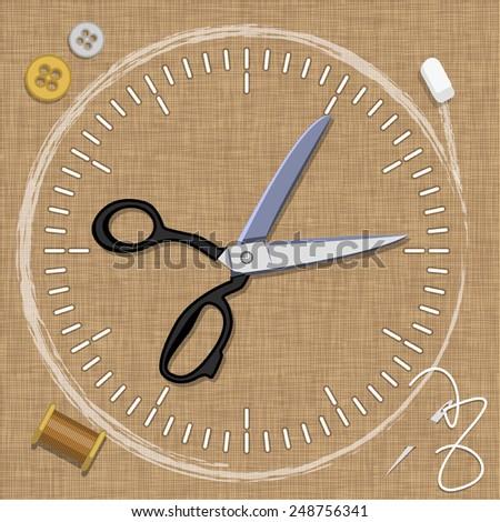 vector table designer clothing (clock) - stock vector