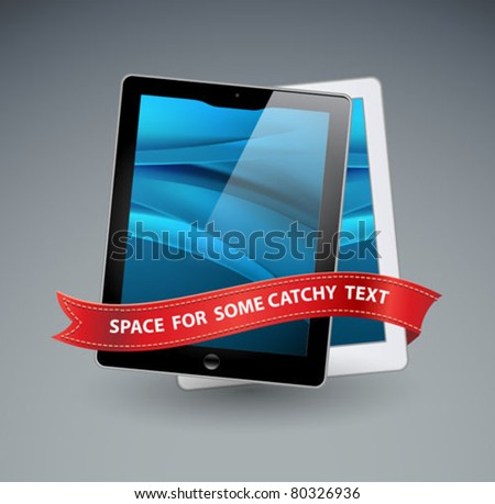 vector tablet computers icons and red ribbon - stock vector